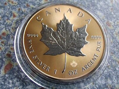 Kanada 2016 1 OZ Silber Maple Leaf Shadows 24K Gold vergoldet Canada silver coin