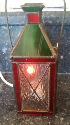 Vintage Christmas hanging LANTERN STAINED GLASS electric with realistic flame
