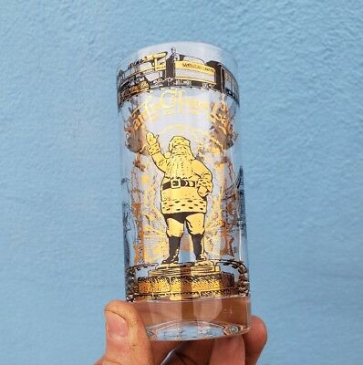 Rare Gold Santa Claus Land Drinking Glass Indiana IN Ind Railroad