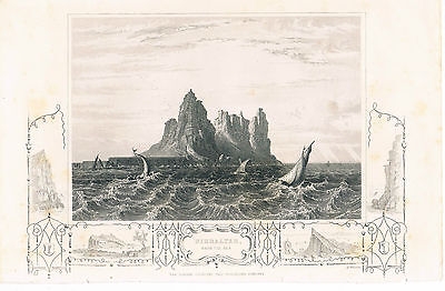 Engraving Gibraltar From The Sea London Printing And Publishing Co