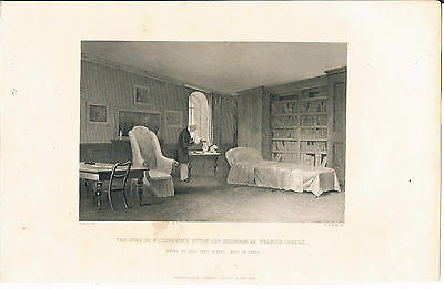 Engraving Duke Of Wellingtons Study And Bedroom Walmer Castle Where He Died 1852