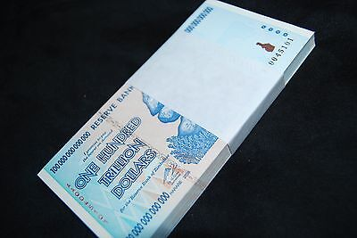 1/4Th Bundle (25 Pcs) Zimbabwe 100 Trillion, Unc, Sequential. Over 50 In Stock!