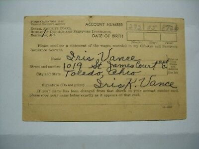 VINTAGE POSTCARD 1941 Social Security Administration Wage Statement Request
