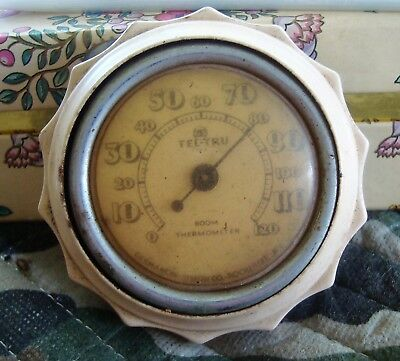 Vintage Tel-Tru Room Thermometer , By Germanow-Simon Co. Rochester Ny, ( Beige )