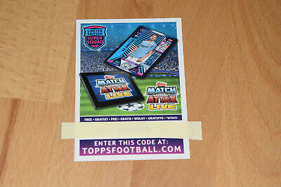 Topps Champions League 2018 2019 Code limited Edition Codekarte Match Attax 2018