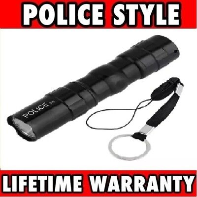 Metal POLICE Stun Gun Rechargeable LED Flashlight+ Gift Box, Free Shipping