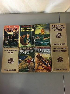 Lot Of 8 Vintage The Hardy Boys Tan Tweed Hardcover Books! Some Dustjackets