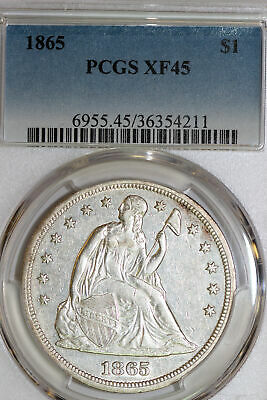 One Nice 1865 US Liberty Seated Dollar that PCGS Graded XF45 (Stock #: 36354211)