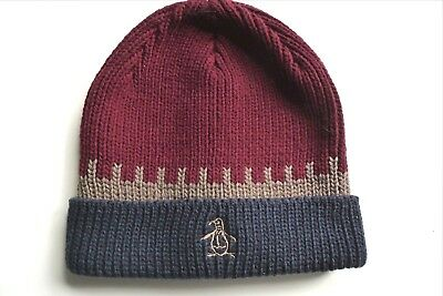 PENGUIN Knitted Burgundy / Navy Cuff BEANIE HAT Toque UNISEX NEW UNWORN AUC51