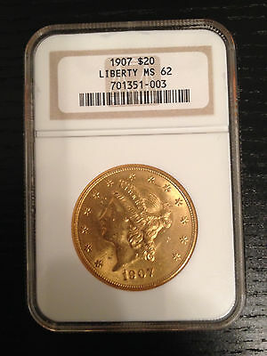 1907 $20 Liberty Gold Double Eagle MS-62 NGC