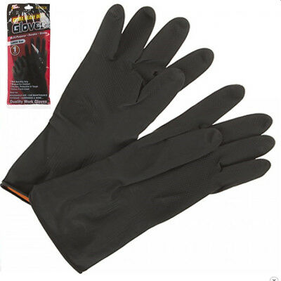 1 Pair Extra Heavy Duty Black Rubber Work Gloves Cotton Flock Lined Strong Tough