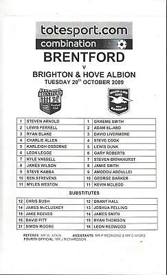 Brentford v Brighton Reserves Printed Single Sheet Football Programme 2009/10