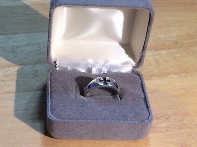 RING CROSS KNIGHTS TEMPLARS 925 SILVER STERLING size 7 US in ring box