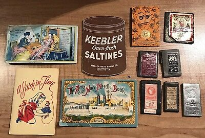 LOT of 11 Antique Sewing Needle Books with Needles/Sharps From Around the World