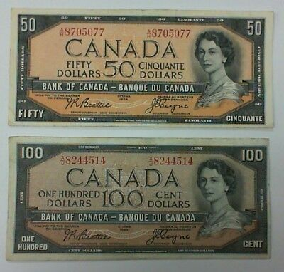 1954 Bank Of Canada Lot Of 2 Beattie Coyne $50.00 And $100.00 Banknotes Modified