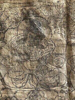 ANTIQUE  TIBET MONGOLIAN BUDDHIST WOODBLOCK PRINT Of VAISHRAVANA.