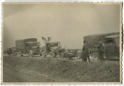 German Wwii Photo From Russian Archive: Army Trucks & Motorcycle On Motorway