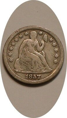 1857 P Seated Liberty Dime STRONG DETAIL with Full LIBERTY