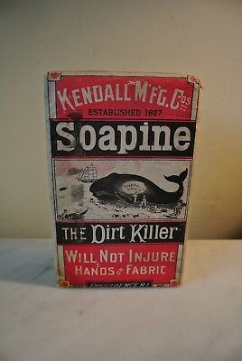 1890's Antique KENDALL SOAPINE BOX w/Washing soap FULL WHALE PROVIDENCE RI