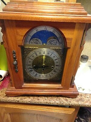 Emperor Westminster Chime Mantle Carriage Clock W/Moon Dial #341-020