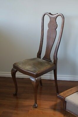 Set of 6 Vintage Mahogany or Walnut Queen Anne Style Dining Chairs