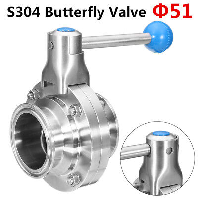 2'' Sanitary Stainless 304 Butterfly Valve Tri-Clamp Silicone Sealing Food Grade