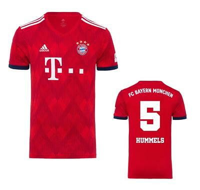 Adidas FC Bayern Munich Football Men's Home Jersey 2018/19 Red with Flock