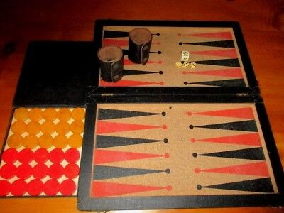 Vintage Backgammon Catalin Game with Bakelite Butterscotch & Red Chips ~OLD~