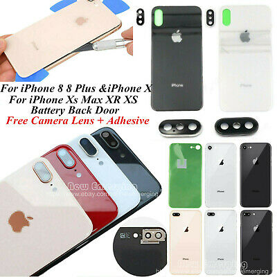 For iPhone 8 8 Plus X Battery Cover Glass Housing Rear Back Door + Camera Lens