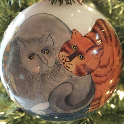 "Cat Christmas Ornament ""People Owners"", Ne'Qwa Art, 11.5"" Circumference"
