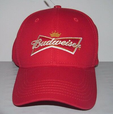 Budweiser Embroidered Crown Logo Red OSFA 100% Cotton Snapback Hat Cap