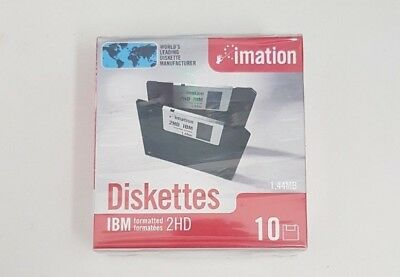 "'imation' 3.5"" FLOPPY DISKS NEVER USED in BOX sealed 1.44 Mb Box of 10 Diskettes"