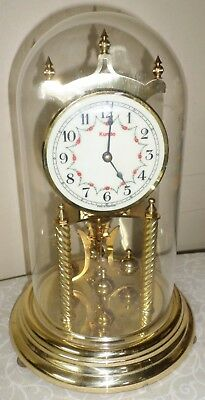 Nice Old Kundo German Brass & Dome 400 Day Anniversary Torsion Mantel Clock!