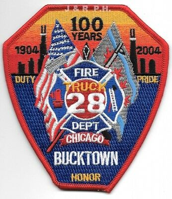 "*NEW*  Chicago  Truck - 28  ""Bucktown - 100 Years"", IL (4"" x 4.5"")  fire patch"
