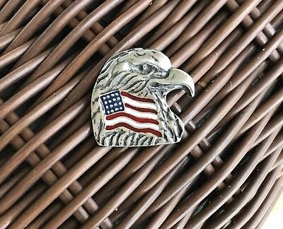 USA. AMERICAN 1 BALD EAGLE PEWTER PIN With FLAG ALL New SYMBOL OF UNITED STATE