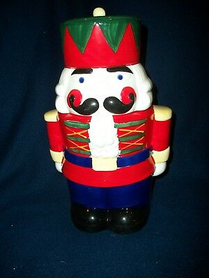 "NUTCRACKER Earthenware Cookie Jar  Christmas Village NEW Large 12"" Tall CUTE NEW"