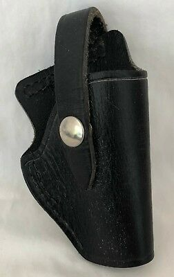 VINTAGE JAY-PEE 1960's Black heavy Leather Strap Holster wide belt Police issue