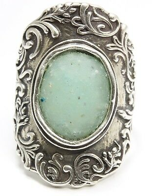 PZ Or Paz Israel Sterling Silver Large Floral Ancient Roman Glass Wide Band Ring