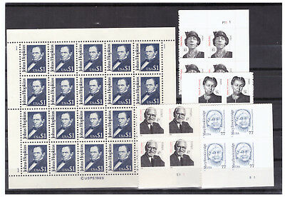 Us $32.85 Face M/nh Postage Lot Of $1.00 Hopkins Sheet & High Value Plate Blocks