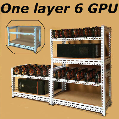 6 GPU Crypto Coin Miner Case Stackable Mining Rig Open Air Frame For ETH Bitcoin