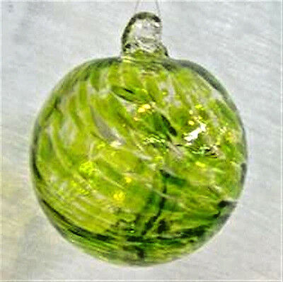 "Hanging Glass Ball 4"" Diameter Peridot Green & White Witch Ball (1) #114"