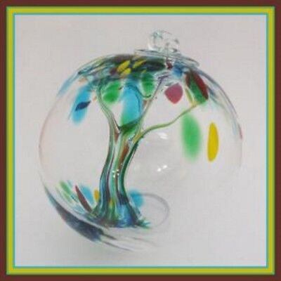 "Hanging Glass Ball 4"" Diameter ""Summer Tree"" Witch Ball (1) WB109"
