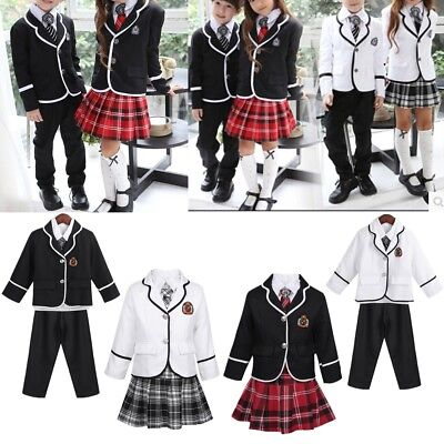 British Style Kid Boy Girl School Uniform Outfit Sets Shirt Coat Pant Mini Skirt