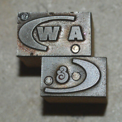 Vintage Letterpress Printer's Block  A & W logo, 2 blocks for printing 2 colors