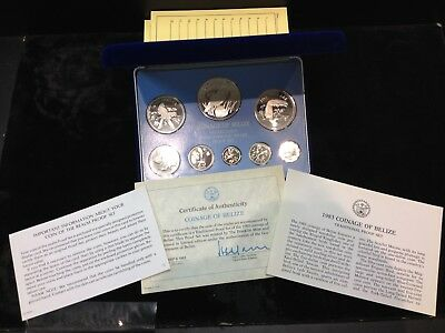 1983 Belize Silver 8 Coin Sterling Silver Proof Set Franklin Mint Box & Coa