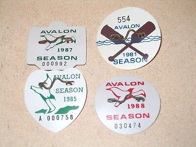 4 Year Collection Avalon NJ Beach Tag Badge Lot 1981 1985 1987 1988 Seasonals