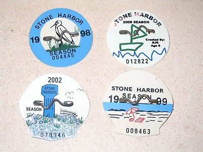 4 Year Collection Stone Harbor NJ Beach Badges Tag or Tags 1998 1999 2002 2009
