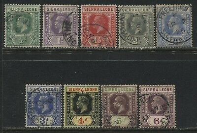 Sierra Leone KGV 1921 1/2d to 6d used