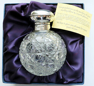 Crystal Glass Perfume Bottle With Sterling Silver Collar by Carrs of Sheffield