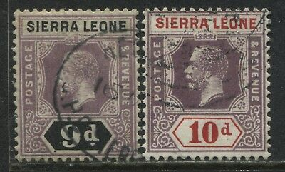 Sierra Leone KGV 1921 9d and 10d used